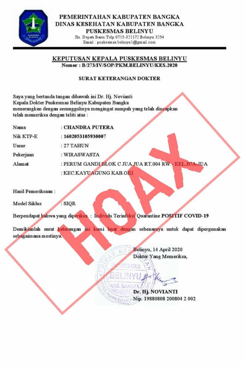 Boy Yandra : Bersama Polres Bangka, Kita Buru Penyebar Berita Hoax SK Kepala Puskesmas Belinyu