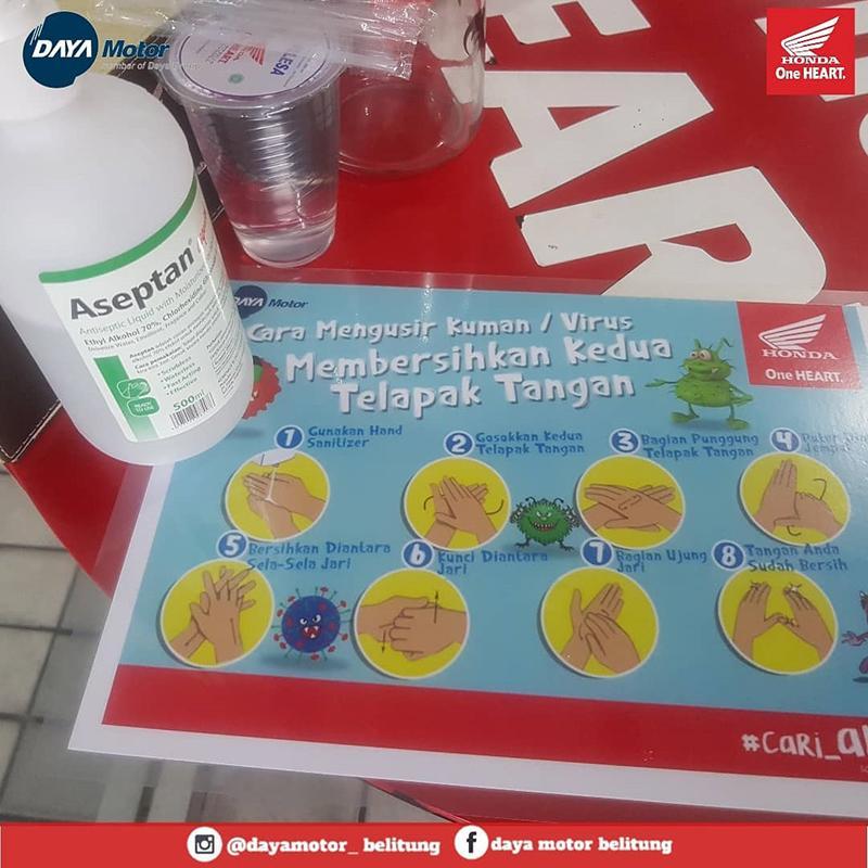 Cegah Penyebaran Covid-19, Honda Daya Motor Belitung Sediakan Hand Sanitizer bagi Pengunjung