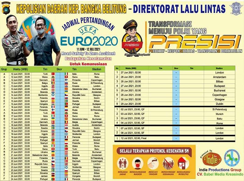 Gandeng Ditlantas Polda Babel, Indie Productions Group Terbitkan Jadwal Lengkap Euro 2020