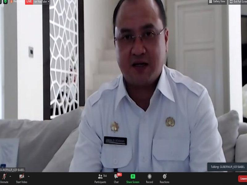Gubernur Erzaldi Jadi Narasumber Webinar Kemendagri RI