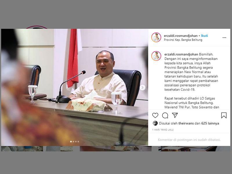 Gubernur Erzaldi Sampaikan Penerapan New Normal di Instagram