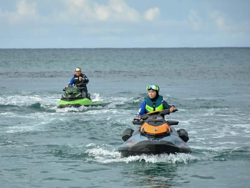 Gunakan Jet Ski, Gubernur Erzaldi dan Danlanud Pantau Pulau Kecil di Belitung
