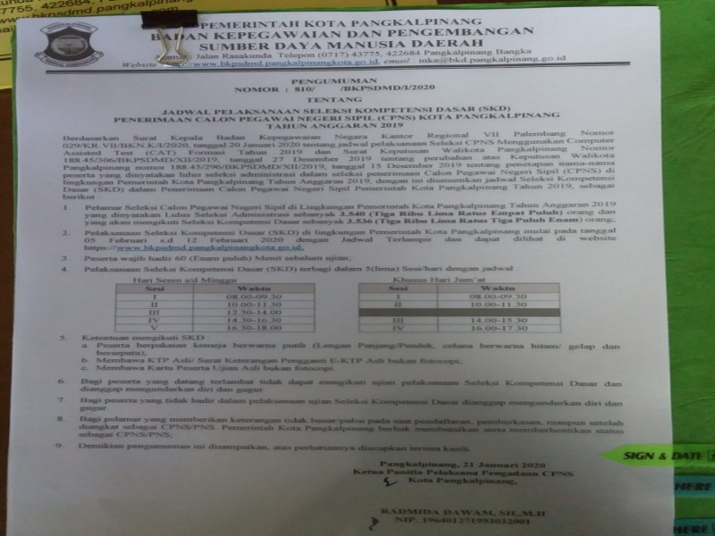 Kabar Baik Untuk 3.540 Peserta Seleksi CPNS Pangkalpinang, Jadwal Tes Sudah Keluar, Baca Selengkapnya Berita Ini
