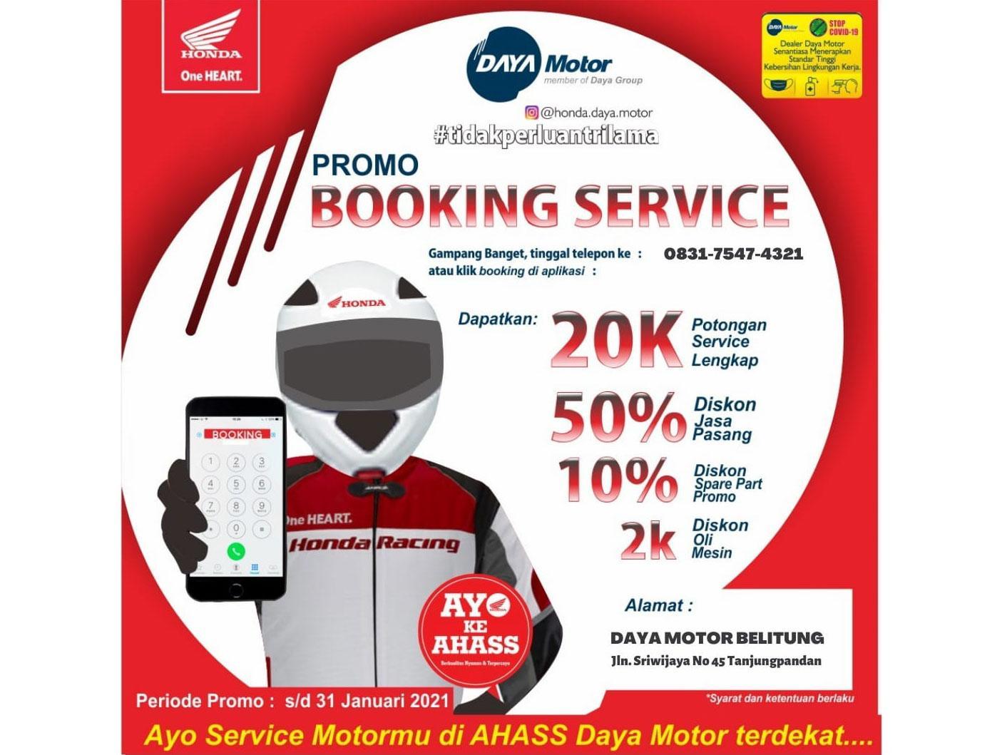 Kabar Gembira Pengguna Motor Honda, Daya Motor Belitung Tawarkan Servis Lengkap