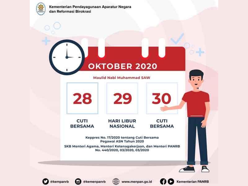 Kementerian PANRB Tegaskan 28 dan 30 Oktober 2020 Adalah Cuti Bersama