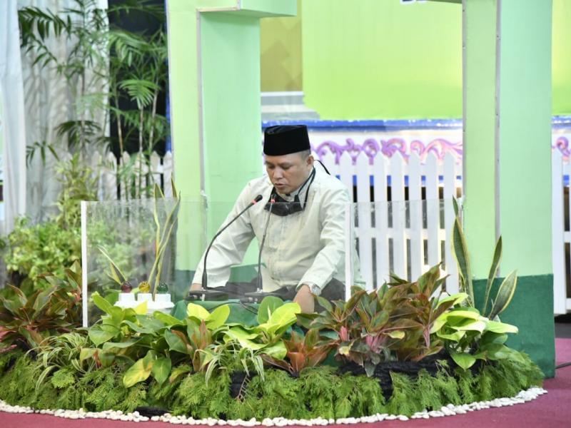 Bupati Kabupaten Bangka Mulkan SH MH secara resmi membuka Musabaqoh Tilawatil Quran ( MTQ ) ke Sembilan (IX), di Ball Room Tanjung Pesona, Kabupaten Bangka, Senin (8/6/2020). (Ist)