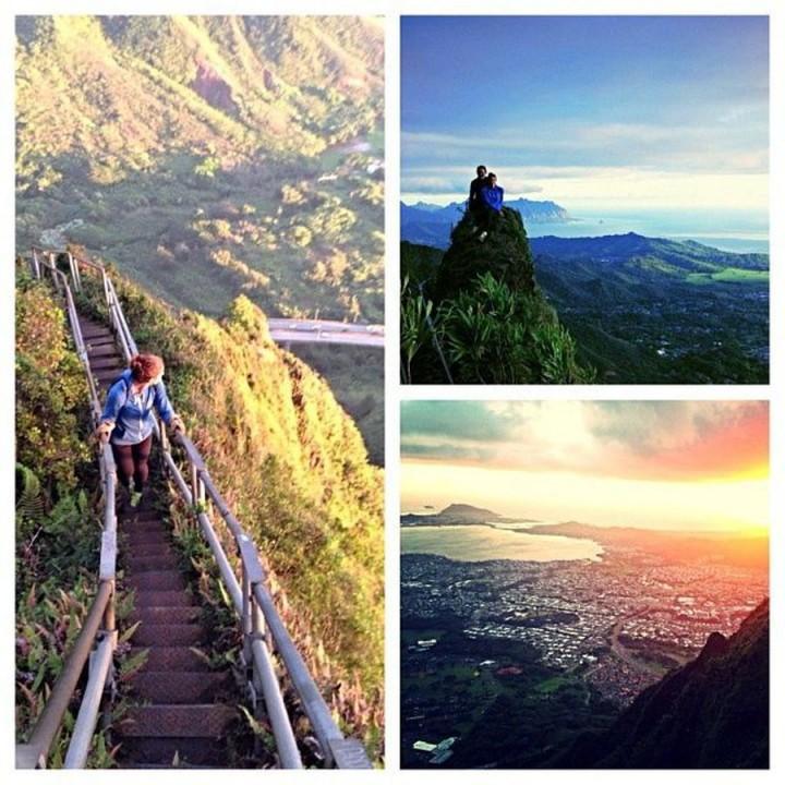 Bahkan Alex Morgan pernah mendatangi 'stair way to heaven' alias tangga surga, salah satu destinasi terkenal di Hawaii (@alexmorgan13/Instagram)