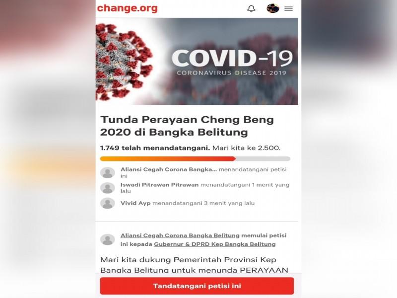 Ribuan Masyarakat Babel Dukung Petisi Tunda Perayaan Cheng Beng 2020