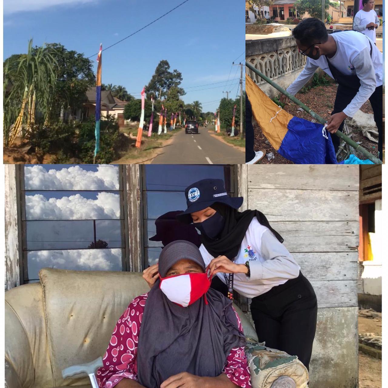Sambut HUT Kemerdekaan RI, Mahasiswa KKN UBB Desa Sungkap Pasang Bendera
