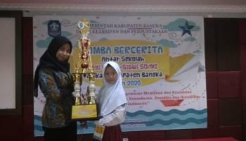 Aliyya Quinsha Majid Siswa SDN 9 Pemali Raih Juara I Lomba Bercerita Tingkat SD Se Kabupaten Bangka