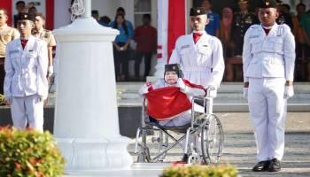 Bikin Terharu, Anak-Anak Disabilitas Jadi Petugas Upacara Bendera HUT ke 73 RI di Kota Pangkalpinang