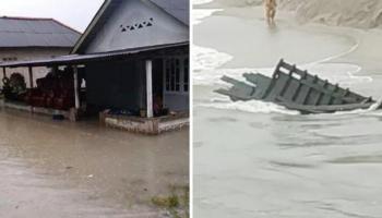 Cuaca Ekstrem, Ratusan Rumah Terendam Banjir dan Kapal Nelayan Hancur di Sungailiat