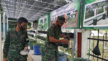 Danramil 0413-6/Sungailiat Ajak Anggota dan Masyarakat Budidaya Lele dan Kangkung