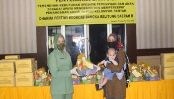 Dharma Pertiwi Koorcab Babel Daerah B Serahkan Bantuan Kebutuhan Perempuan dan Anak