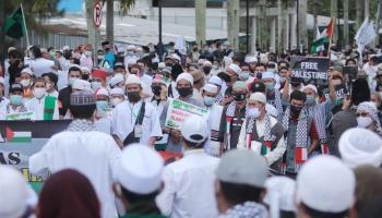FOTO: Ratusan Massa Gelar Aksi Bela Palestina Mengecam Kekejaman Israel