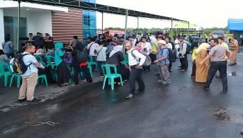 Foto situasi terkini posko pusat informasi korban kecelakan pesawat lion air JT 610