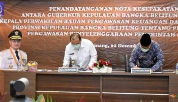 Gubernur Erzaldi dan Kepala Perwakilan BPKP Babel Tanda Tangani Nota Kesepakatan