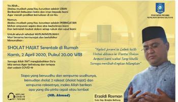Gubernur Erzaldi Mengajak Masyarakat Babel Laksanakan Salat Hajat Serentak 2 April 2020