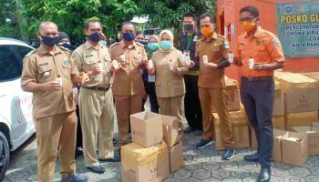 Gugus Tugas Covid-19 Kota Pangkalpinang, Salurkan 20.000 Handsanitizer dan Masker Untuk Masyarakat