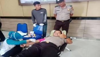 HUT Bhayangkara ke 72, Polres Bangka Barat Gelar Donor Darah