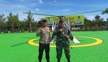 Kapolres Bangka Barat Bersama Dandim Patroli Udara Menggunakan Helikopter NBO 105