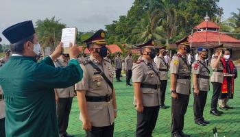 Kapolres Bangka Pimpin Upacara Sertijab Pejabat Baru Dengan Prokes Ketat