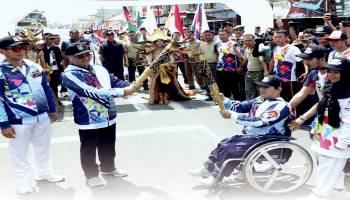 Kirab Obor Asian Para Games 2018 Singgah di Pangkalpinang