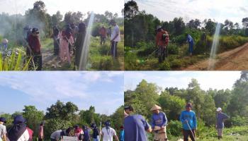 KKN UBB Desa Air Ruai Gandeng Perangkat Desa Bersihkan Sampah Menumpuk