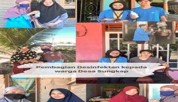 KKN XV UBB Desa Sungkap Bagi-Bagi Cairan Disinfektan