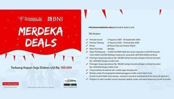 Meriahkan HUT Ke-75 RI, Sriwijaya Air dan BNI Luncurkan Promo Merdeka Deals