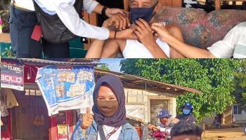 Meski Masuk Zona Hijau, Mahasiswa KKN UBB Desa Sungkap Tetap Bagi-Bagi Masker