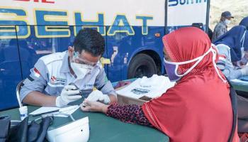 Mobil Sehat PT Timah Datangi Desa Batu Belubang Beri Layanan Kesehatan Gratis