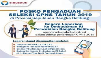 Ombudsman Babel Buka Posko Pengaduan Seleksi CPNS 2019