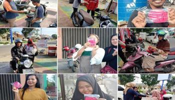 Peduli Sesama, Honda Daya Motor Berbagi Masker Gratis di Diler Koba dan Diler Pos Toboali