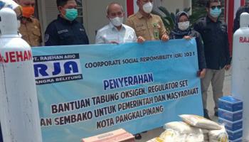 Pemkot Pangkalpinang Terima Bantuan Tabung Oksigen Dan Bahan Kebutuhan Pokok Dari PT Rajehan Ariq