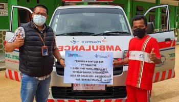 Percepat Pelayanan Kesehatan, PT Timah Serahkan Bantuan Ambulance di Bangka Selatan