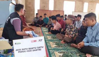 Peringati Hari Santri Nasional, ACT Babel Salurkan Bahan Pangan dan Nutrisi ke Ponpes Uwais Al-Qorni