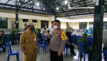Peringati HUT ke-74 Bhayangkara, Polres Bersama Dinas Kesehatan Bangka Lakukan Rapid Test 220 Anggota Polri dan TNI