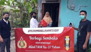 Peringati HUT ke-18, Polda Babel Gandeng IMM Bagikan Sembako dan Masker ke Kabupaten/Kota
