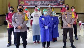 Persiapan Pengamanan Pilkada, 275 Personel Polres Bangka Barat Lakukan Rapid Test