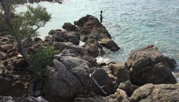 Serunya Mancing Ikan Karang dan Bakar-Bakar Sotong di Pantai Punggur
