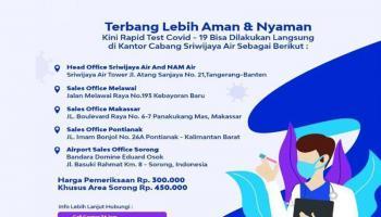 Sriwijaya Air Group Sediakan Fasilitas Rapid Test Bagi Calon Penumpang