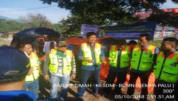 Tim ERG PT Timah Berjibaku dengan Waktu Antar Bantuan Korban Gempa Palu
