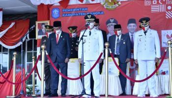 Upacara Bendera HUT RI 75 di Pemkab Bangka Berjalan Hikmat