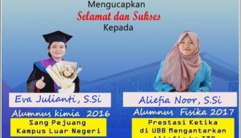 Woww, 2 Alumni UBB Raih Beasiswa S2 di JUST dan ITB