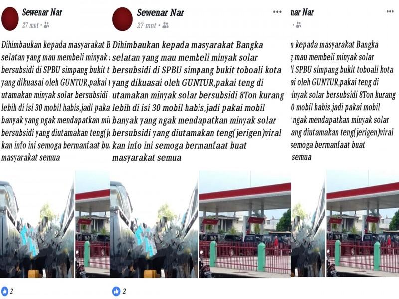 SPBU Simpang Bukit Toboali Bantah Tudingan Akun Sawenar Nar