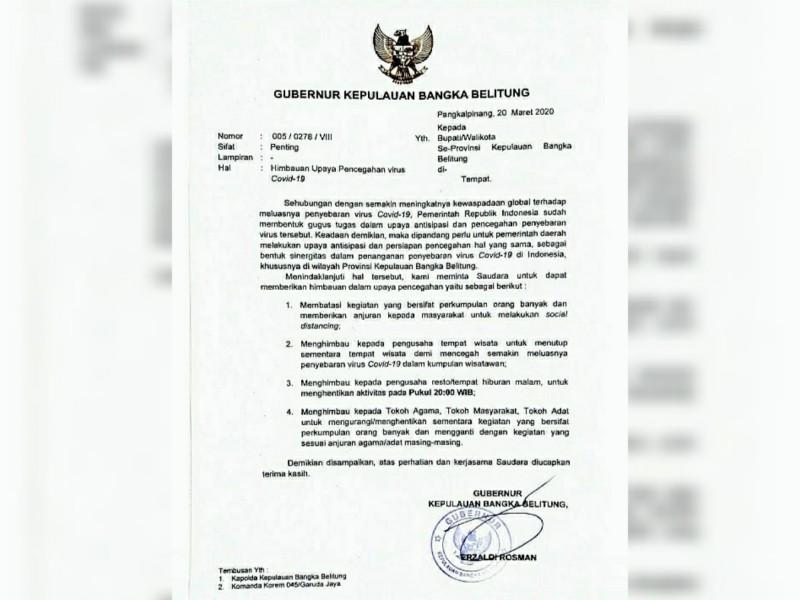 Surat Edaran Berisi Himbauan, Gubernur Babel Minta Tempat Wisata Ditutup Sementara