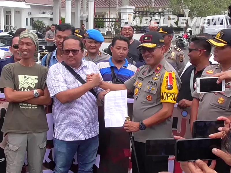 VIDEO Puluhan Jurnalis Babel Unjuk Rasa Kecam Kekerasan Oknum Kepolisian