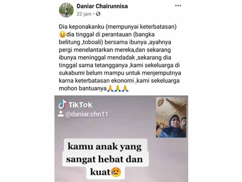 VIRAL Bocah Disabilitas Asal Sukabumi Terlantar di Toboali