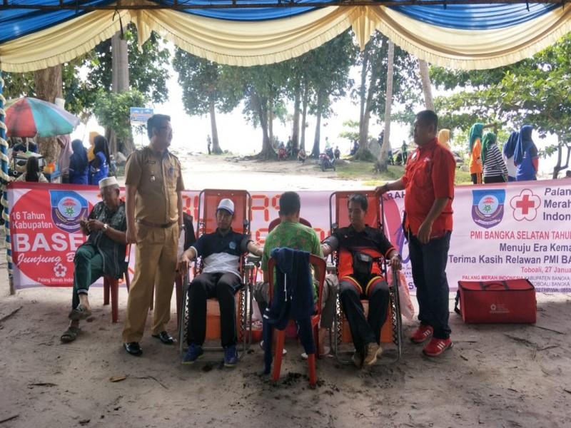 Warga Kecamatan Tukak Sadai Ramaikan Tour Donor Darah